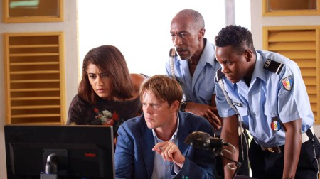 Programme Name: Death in Paradise - TX: n/a - Episode: n/a (No. 6) - Picture Shows: (L-R) Florence (JOSEPHINE JOBERT), Humphrey (KRIS MARSHALL), Dwayne (DANNY JOHN-JULES), JP (TOBI BAKARE) - (C) Red Planet Pictures - Photographer: Denis Guyenon